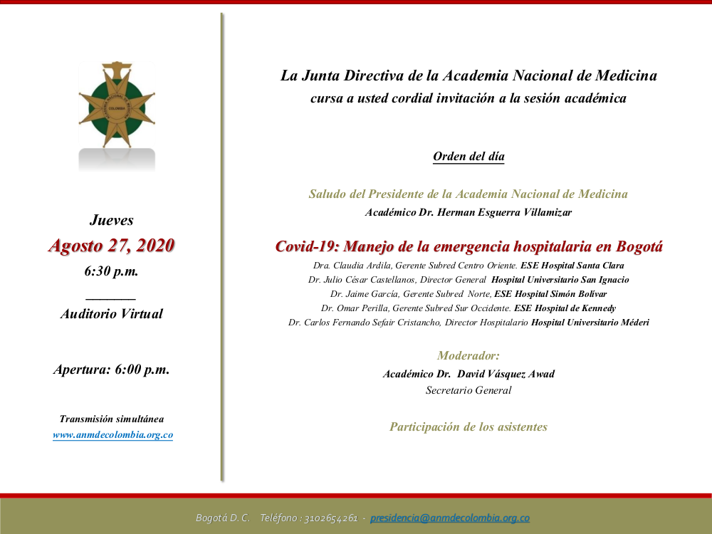 Invitación-Sesión Académica Agosto 27 - Covid-19. Manejo de la emergencia hospitalaria en Bogotá
