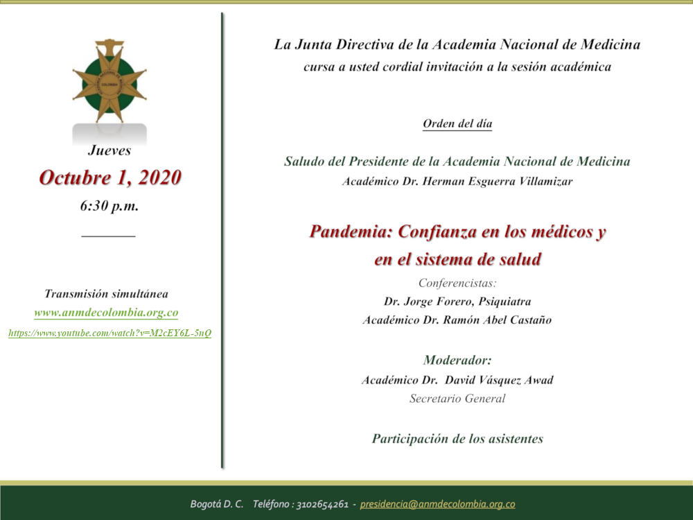 Sesión Académica 1 Oct.- Pandemia. Confianza en los médicos y el Sistema de Salud
